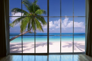 Fototapeta na flizelinie MS-5-0203 BEACH WINDOW VIEW